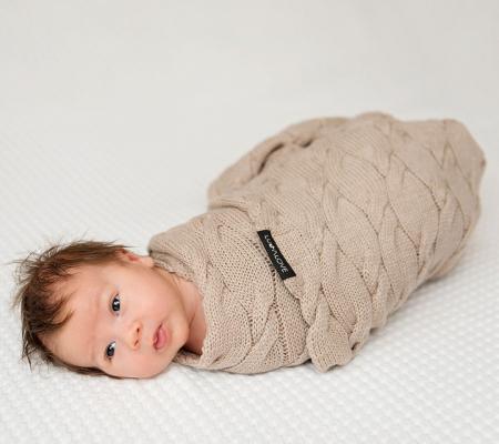 Patura lana Merinos Lullalove 80x100cm - Beige [1]