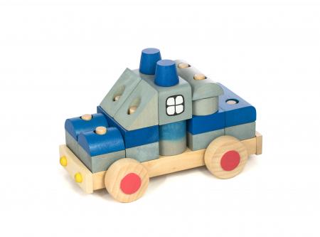 Masina de politie din lemn, piese colorate0