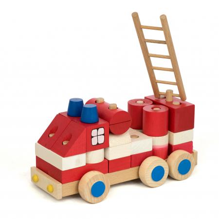 Masinuta de pompieri din piese0