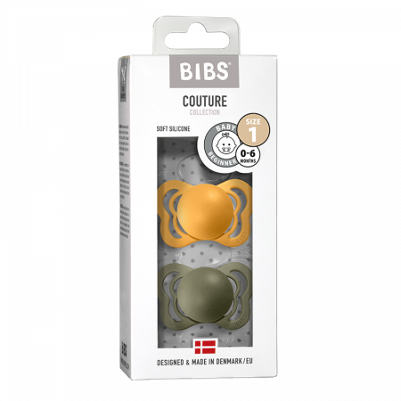 2 Pack Bibs Couture Honey Bee / Olive Silicon Size 1 (0-6 luni) [0]