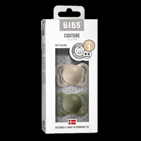 2 Pack Bibs Couture Vanilla / Olive Silicon Size 1 (0-6 luni)0