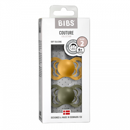 2 Pack Bibs Couture Honey Bee / Olive Silicon Size 2 (6-18 luni)0