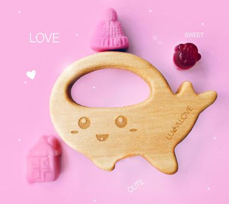 Jucarie dentitie + clips, lemn de artar , Mamari [2]