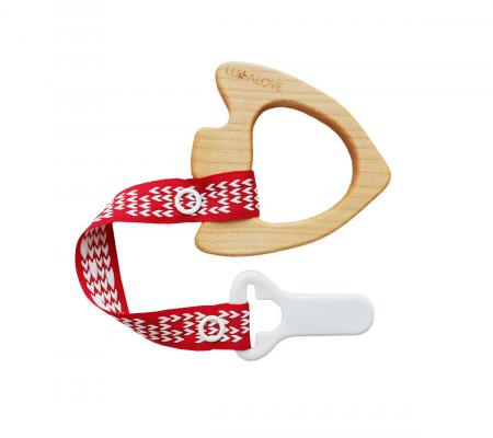 Jucarie dentitie + clips, lemn de artar , Mamari2