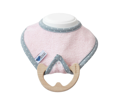 Jucarie dentitie cu bavetica roz, lemn de artar [0]