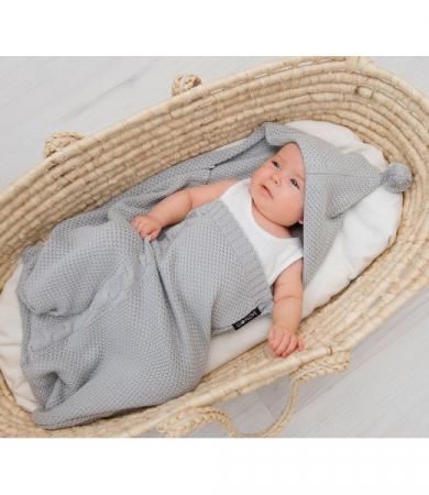 Paturica de dormit, cu gluga, 50 x 40cm bambus&bumbac, Gri3