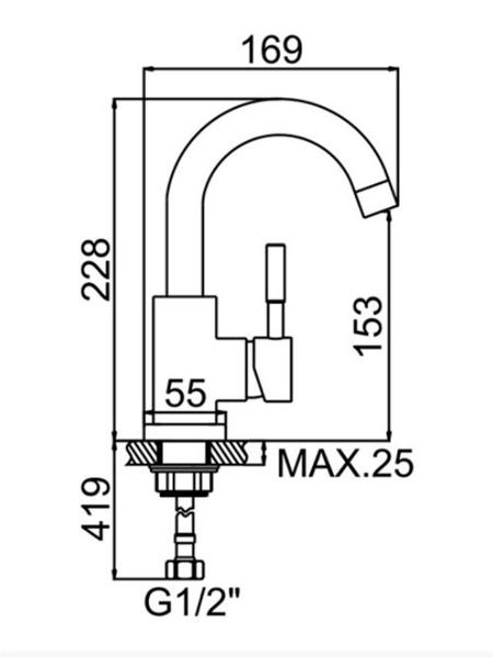 Baterie sanitara pentru chiuveta MIXXUS SUS-011-B CHROME [6]