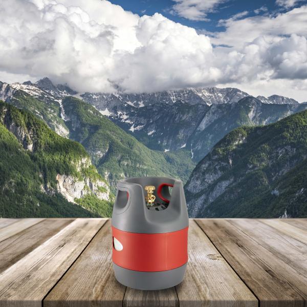 Butelie reîncărcabilă GPL (Gaz), material compozit, gri-roșu, rezistență 30 bari, capacitate 12.7 Litri [6]