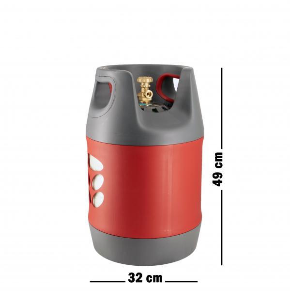 Butelie reîncărcabilă GPL (Gaz), material compozit, gri-roșu, rezistență 30 bari, capacitate 18.2 Litri [1]