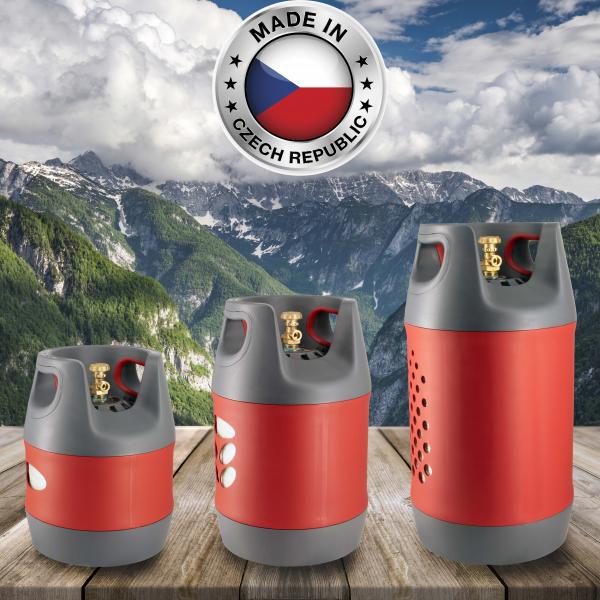 Butelie reîncărcabilă GPL (Gaz), material compozit, gri-roșu, rezistență 30 bari, capacitate 24.4 Litri [7]
