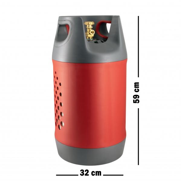 Butelie reîncărcabilă GPL (Gaz), material compozit, gri-roșu, rezistență 30 bari, capacitate 24.4 Litri [1]