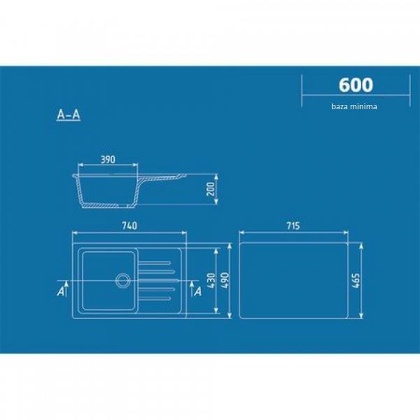 Chiuveta dreptunghiulara ULGRAN U-400-308 [1]