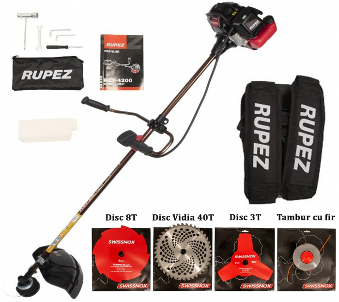 Motocoasa Rupez , 4.7 CP, 9000 rpm, motor 2 timpi, 4 sisteme de taiere [0]