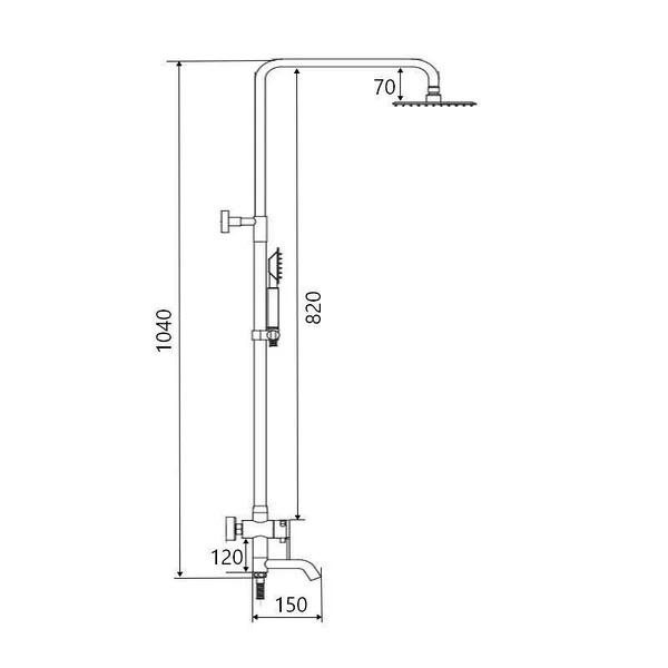 Baterie sanitara pentru dus cu coloana SUS-009-J BLACK [2]