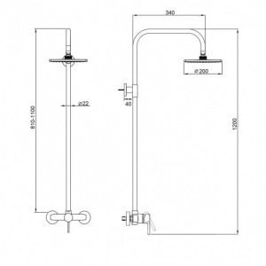 Baterie sanitara pentru dus cu coloana SUS-003-J BLACK [1]
