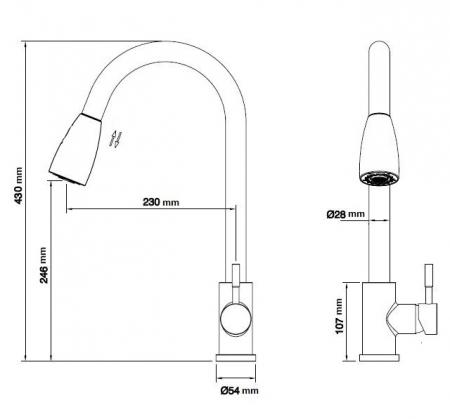 Baterie sanitara pentru chiuveta MIXXUS SUS-014-B , pipa extractibila [6]