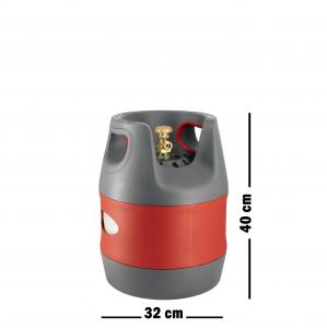 Butelie reîncărcabilă GPL (Gaz), material compozit, gri-roșu, rezistență 30 bari, capacitate 12.7 Litri [1]