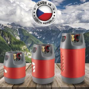 Butelie reîncărcabilă GPL (Gaz), material compozit, gri-roșu, rezistență 30 bari, capacitate 12.7 Litri [7]