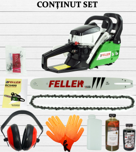 Drujba pe benzina Feller Canada ECS 400, 5.7 CP (4300 W) | 1 lama 40 cm | 1 lant 32 dinti [1]