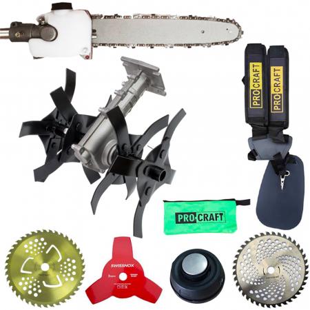 SET OFERTA! Motocoasa PROCRAFT T4350 PRO , 6.3 CP, 9000 rpm, motor 2 timpi, + accesoriu Prasitoare Cultivator + Fierastrau de taiat crengi + 4 sisteme de taiere [1]