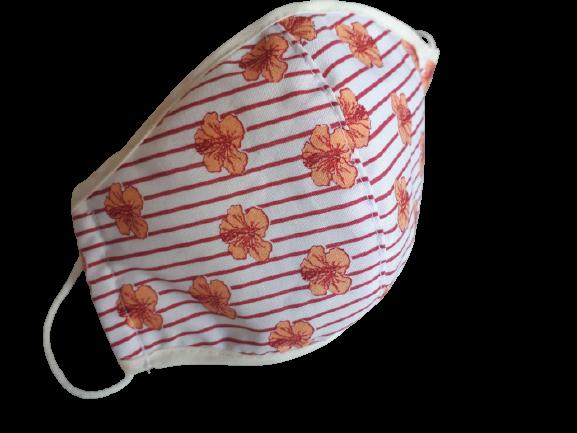 Masca textila copii 5-8 ani, floricele portocalii [1]