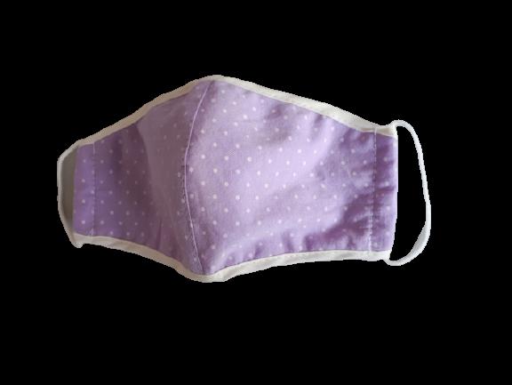 Masca textila pentru copii, 9-12 ani, imprimeu mov cu buline albe [0]