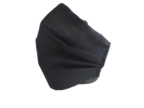Masca textila reutilizabila, din 3 straturi, cu 3 pliuri, neagra 1