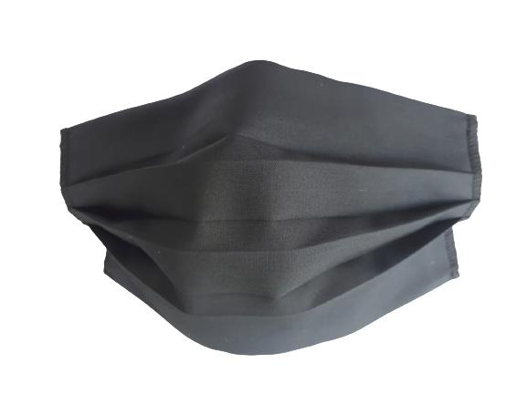 Masca textila reutilizabila, din 3 straturi, cu 3 pliuri, neagra 0