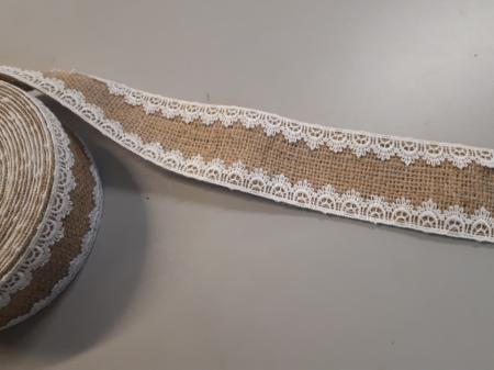 Banda decorativa din iuta cu dantela cusuta pe margini la interior, 60 mm [1]