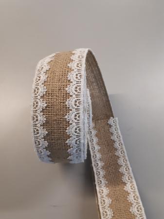 Banda decorativa din iuta cu dantela cusuta pe margini la interior, 60 mm [2]