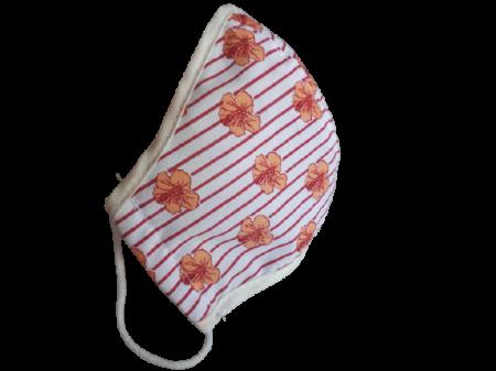 Masca textila copii 5-8 ani, floricele portocalii [0]