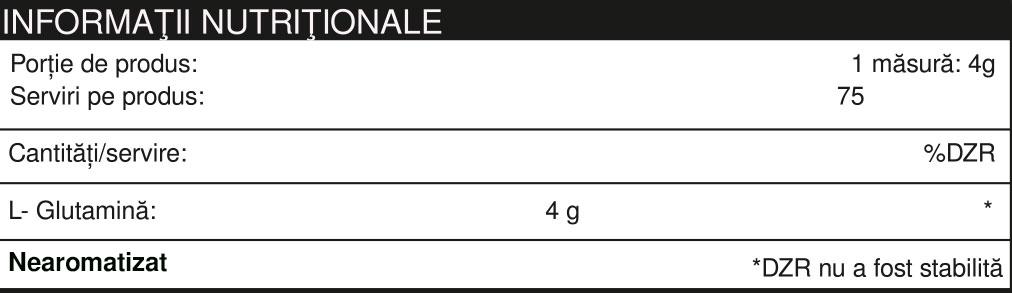 Specificatii L-GLUTAMINE  300 g