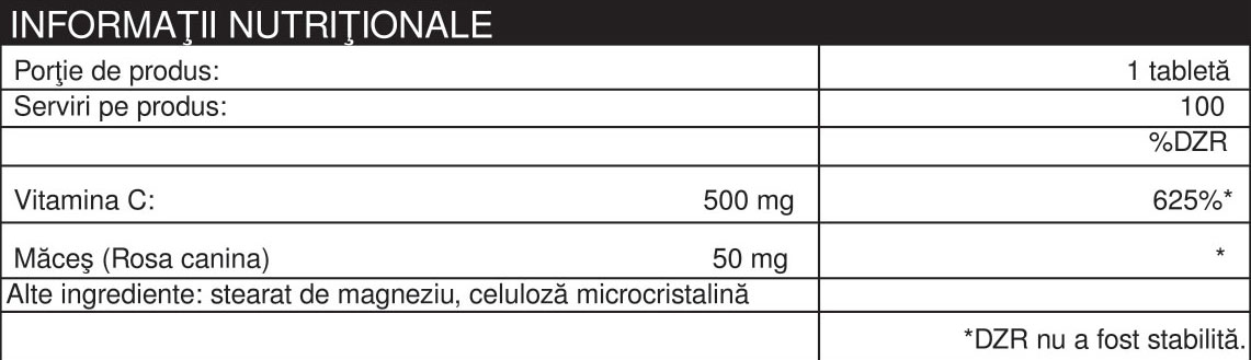 Specificatii VITAMINA C 500