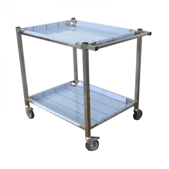 Carucior transport materiale sanitare/alimente din inox cu 2 blaturi - CMS1 [0]