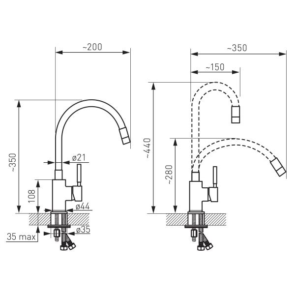 Baterie stativa bucatarie cu pipa flexibila 1