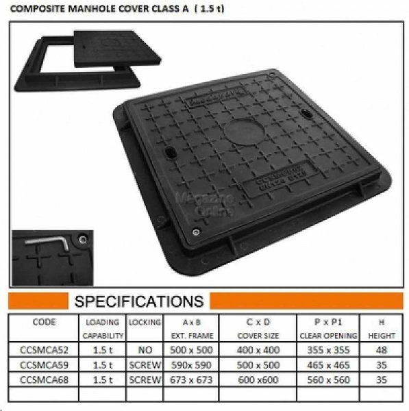 CAPAC COMPOZIT PATRAT 59X59 A15 0