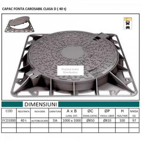 CAPAC FONTA CAROSABIL Ø1000 CLASA D (40 t) 0