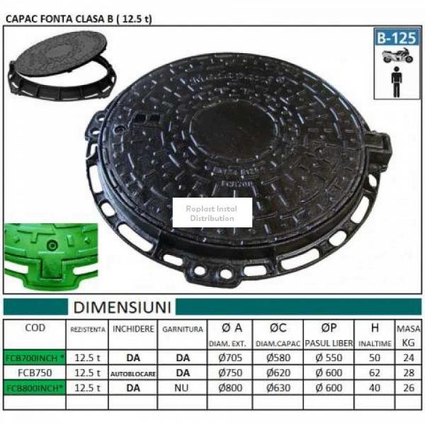 CAPAC FONTA ROTUND CLASA B 800x35 (12.5t) 0