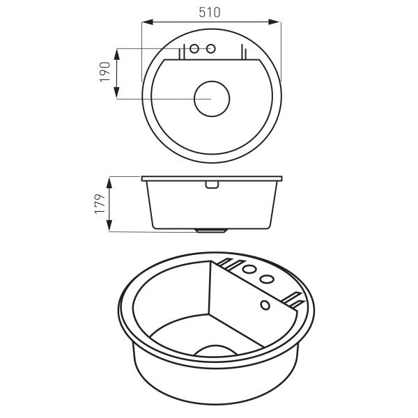 Set Chiuveta bucatarie Ferro Mezzo II 1 Cuva Rotunda 51 cm GRI si Baterie Ferro Zumba cu Pipa Flexibila 1