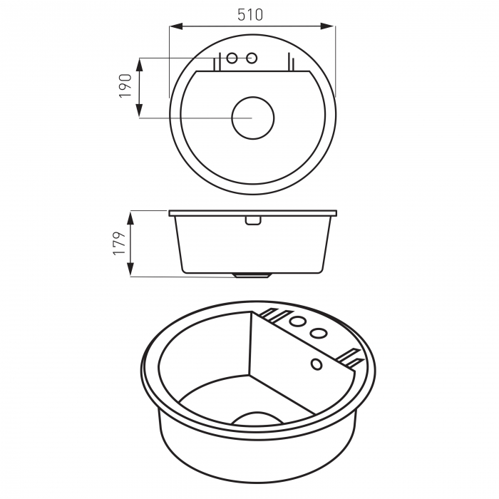 Set Chiuveta bucatarie Ferro Mezzo II 1 Cuva Rotunda 51 cm GRAFIT si Baterie Ferro cu Pipa Flexibila Zumba II cu 2 functii 1