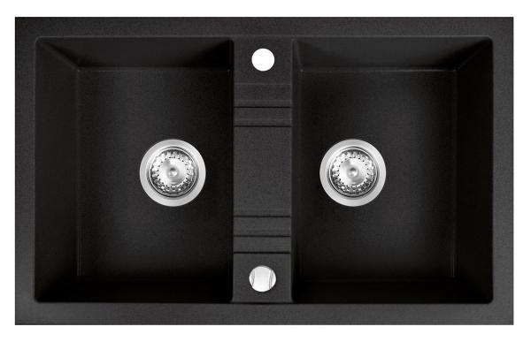 Chiuveta bucatarie simpla Granit Ferro Mezzo II Grafit 2 Cuve 780 x 480 mm 0