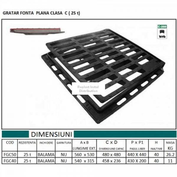 GRATAR FONTA CLASA C 540x310x40 (25 t) 0