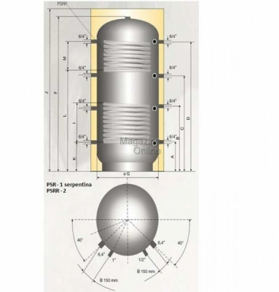 Austria Email Puffer - acumulator de apa calda, 1500 litri, o serpentina, Austria Email PSR 1500 [1]