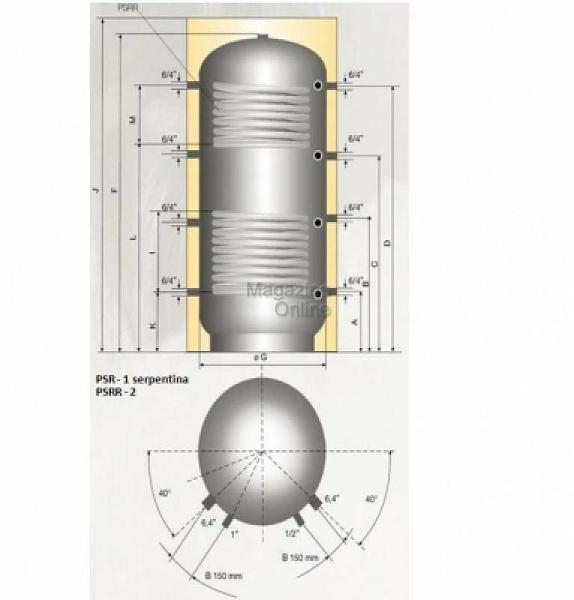Austria Email Puffer - acumulator de apa calda, 800 litri, 2 serpentine, Austria Email PSRR 800 [1]