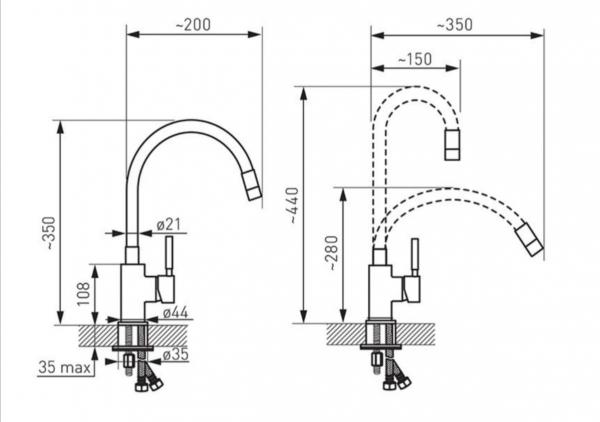 Set Chiuveta Ferro Mezzo II 1 Cuva 580 x 480 mm GRAFIT si Baterie Ferro Zumba cu Pipa Flexibila 4