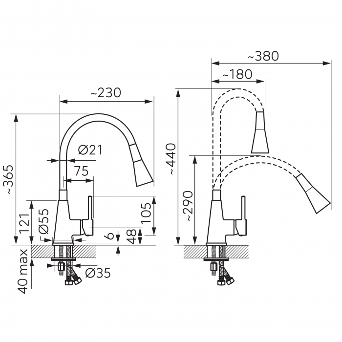 Set Chiuveta Ferro Mezzo II 1 Cuva 580 x 480 mm GRAFIT si Baterie Ferro cu Pipa Elastica ZUMBA II cu 2 functii 2