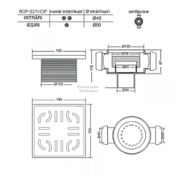 Sifon pard cu doua intrari laterale Ø40 la 180gr, o iesire verticala Ø50 si înaltator inox [1]