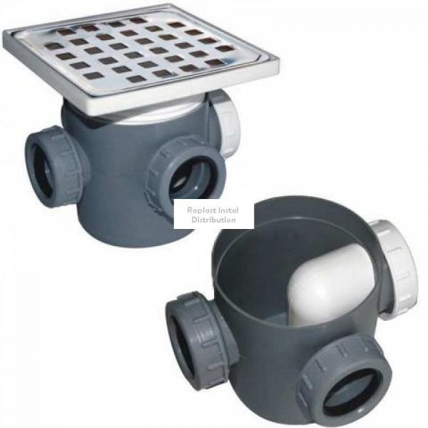 Sifon pardoseala 2 intrari 100 mm cu piulita, dop la intrare si inaltator inox [0]