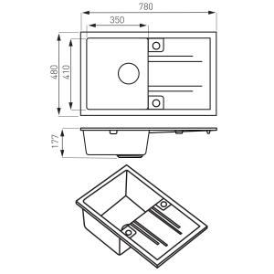 Chiuveta bucatarie simpla Ferro Mezzo II Grafit 1 Cuva si Picurator 780 x 480 mm1