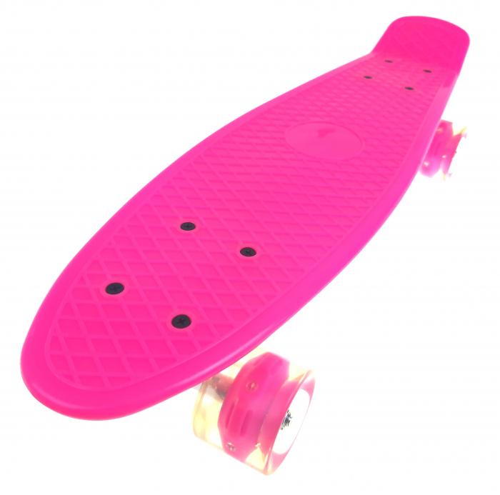 Penny Board cu roti luminoase LED, 55 cm, Roz, Toyska [0]